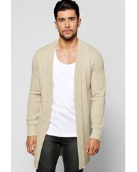 Boohoo - Natural Elongated Textured Cardigan for Men - Lyst