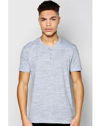 Boohoo - Gray Space Dye Henley Tshirt for Men - Lyst