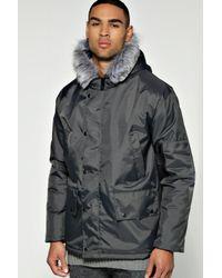 Boohoo - Black Snorkel Hood Parka With Lux Fur Trim for Men - Lyst