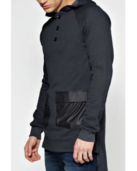 Boohoo Black Oversized Slouchy Fit Dipped Hem Sweat for men