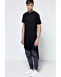 Boohoo - Black Extreme Longline Crew Neck T Shirt for Men - Lyst