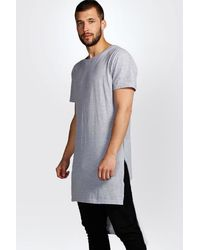 Boohoo - Gray Extreme Longline Crew Neck T Shirt for Men - Lyst