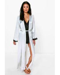 men/man cute cheap selected material Women's Gray Ellie Lace Sleeve Satin Maxi Kimono Robe
