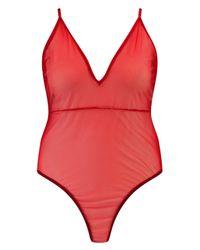 Boohoo Red Plus Esther Mesh Bodysuit