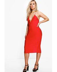 Boohoo Red Plus Olivia Strappy Plunge Slinky Midi Dress