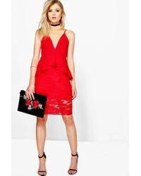 Boohoo | Red Petite Hannah Plunge Lace Skirt Peplum Dress | Lyst