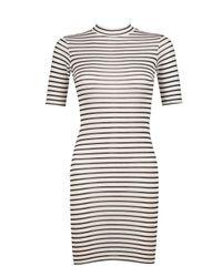 Boohoo - Multicolor Petite Victoria Turtle Neck Stripe Dress - Lyst