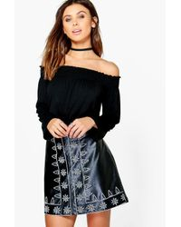 Boohoo Black Petite Issy Shirred Off The Shoulder Top