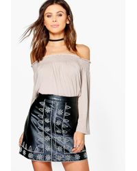 Boohoo Multicolor Petite Issy Shirred Off The Shoulder Top