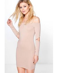 Boohoo | Multicolor Petite Ivy Cut Out Sleeve Bodycon Dress | Lyst