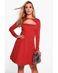 Boohoo   Red Plus Nancy Neck Detail Skater Dress   Lyst