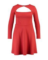 Boohoo | Red Plus Nancy Neck Detail Skater Dress | Lyst