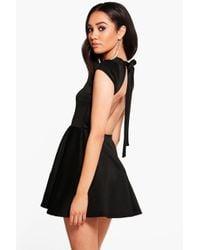 Boohoo | Black Petite Hailey Scuba Backless Skater Dress | Lyst