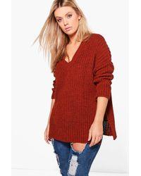 Boohoo - Red Plus Jenny V Neck Oversize Tunic - Lyst