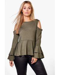 Boohoo | Green Plus Evelyn Ruffle Sleeve Peplum Top | Lyst