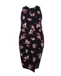Boohoo Black Plus Eliza V Neck Floral Print Asymmetric Dress