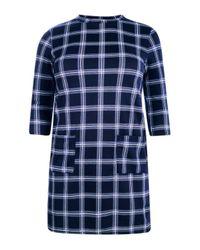 Boohoo Multicolor Plus Sylvia Check Pocket 3/4 Sleeve Shift Dress