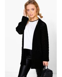 Boohoo | Black Petite Natalie Cable Knit Cardigan With Pockets | Lyst