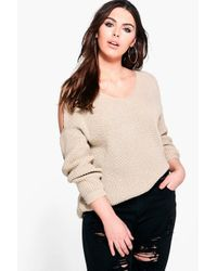 Boohoo Natural Plus Belle V Neck Cold Shoulder Jumper
