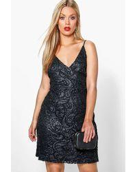 Boohoo Black Plus Tia Lace + Sequin Wrap Top Bodycon Dress