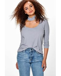Boohoo Metallic Plus Addy Choker Neck Detail Rib Top