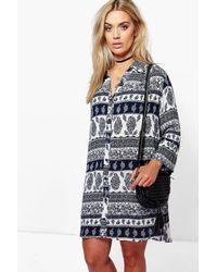 Boohoo Blue Plus Indi Paisley Shift Dress