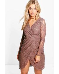 Boohoo Multicolor Plus Alicia Lace Wrap Front Dress