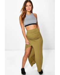 Boohoo - Multicolor Petite Haley Wrap Front Split Maxi Skirt - Lyst