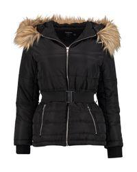 Boohoo Black Petite Sophie Quilted Jacket With Faux Fur Hood