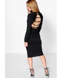 Boohoo | Black Petite Jane Slash Back Bodycon Midi Dress | Lyst