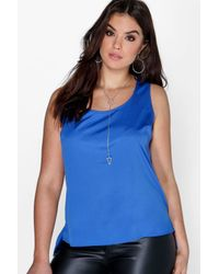 Boohoo Blue Plus Poppy Wide Strap Cami Vest