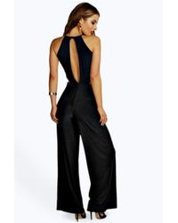 914988ac7e Lyst - Boohoo Petite Eva Cut Out Back Jumpsuit in Black