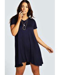 Boohoo Blue Plus Clea V Neck Swing Dress