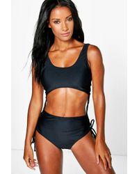 Boohoo | Black Latvia Eyelet Cut Out Swimsuit | Lyst