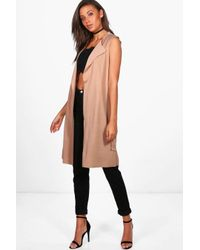 Boohoo Multicolor Tall Molly Sleeveless Belted Duster