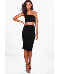 Boohoo Black Tall Valentina Bandeau Top & Skirt Co-ord