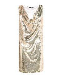 Boohoo Metallic Tall Melisa Drape Front Sequin Dress