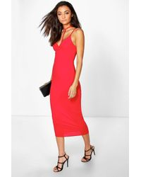 Boohoo - Black Tall Rea Neck Strap Midi Dress - Lyst