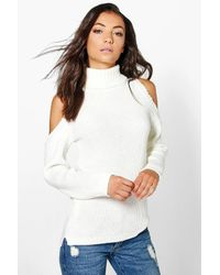 Boohoo | White Tall Shay High Neck Cold Shoulder Jumper | Lyst