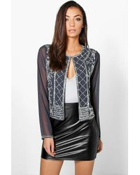 Boohoo | Gray Tall Sandrelle Premium Embellished Trophy Jacket | Lyst