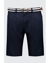 BoohooMAN Blue Slim Fit Cotton Chino Shorts With Belt for men