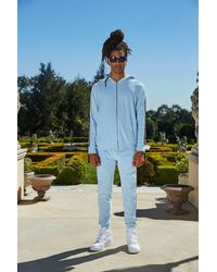 Boohoo Blue Velour Tracksuit With Stripe for men