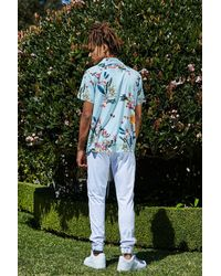 Boohoo Blue French Montana Floral Print Revere Shirt for men