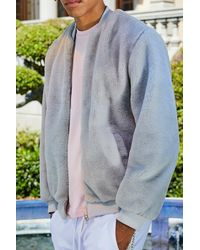 Boohoo Gray French Faux Fur Bomber for men
