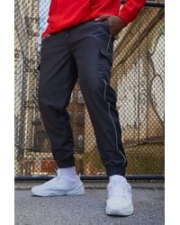 BoohooMAN Black Big & Tall Cargo Joggers With Reflective Piping for men