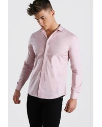 BoohooMAN Pink Muscle Fit Long Sleeve Shirt for men