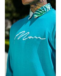 BoohooMAN Blue Oversized Man Signature Embroidered Sweater for men