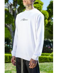 Boohoo White French Man Sweater With Step Hem for men