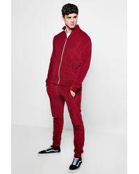Boohoo Red Skinny Fit Velvet Tracksuit for men