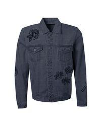 Boohoo Blue Rose Embroidered Denim Western Jacket for men